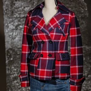 American Eagle Outfitters Plaid peacoat size XS/TP